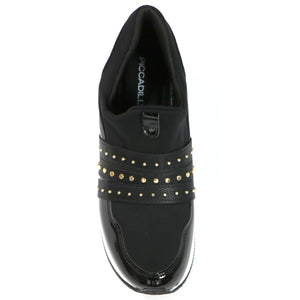 Black ENERGY Sneakers with Gold Studs for Women (974.014) - SIMPLY SHOES HONG KONG