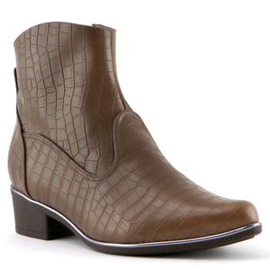 Brown Croco Ladies Ankle Boot (658.001) - SIMPLY SHOES HONG KONG