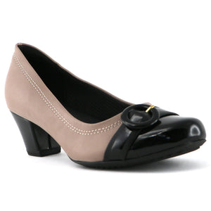 Taupe Black Blocked Heels for Women (111.088) - SIMPLY SHOES HONG KONG