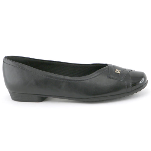 Black Napa/Patent Flat Ladies shoes (251.059)