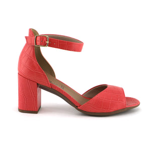Coral Nappa Croco Heels for Women (685.007) - SIMPLY SHOES HONG KONG