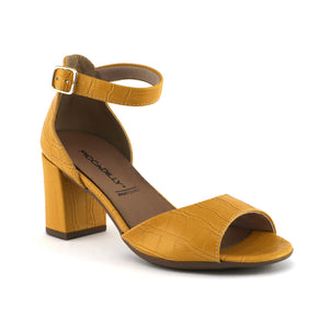 Mustard Nappa Croco Heels for Women (685.007) - SIMPLY SHOES HONG KONG