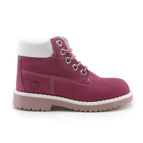 Fuschia Leather outdoor ankle boot (SS-7047) - SIMPLY SHOES HONG KONG