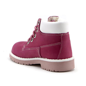 Fuschia Leather outdoor ankle boot (SS-7047)
