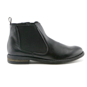 Black nappa leather with elastic casual Girls Ankle Boots (SS-7048)