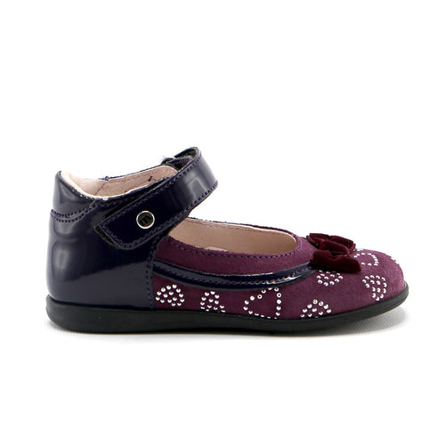 Purple soft suede  and patent leather combo with ankle strap ballerina (SS-7049) - SIMPLY SHOES HONG KONG