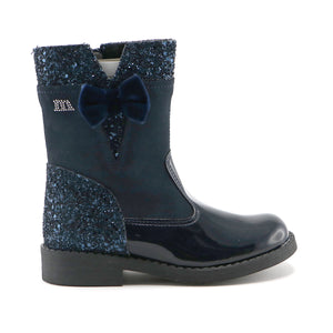 Navy suede and patent leather combor 15.5cm girls boot  (SS-7050)