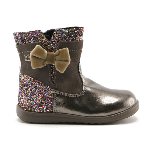 Metallic bronze patent leather with soft suede 10.5cm girls boot (SS-7052) - SIMPLY SHOES HONG KONG