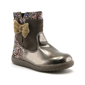 Metallic bronze patent leather with soft suede 10.5cm girls boot (SS-7052)