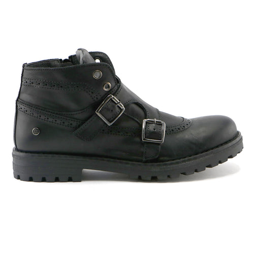 Black leather classic Girls Ankle Boots (SS-7053) - SIMPLY SHOES HONG KONG