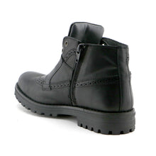Black leather classic Girls Ankle Boots (SS-7053)