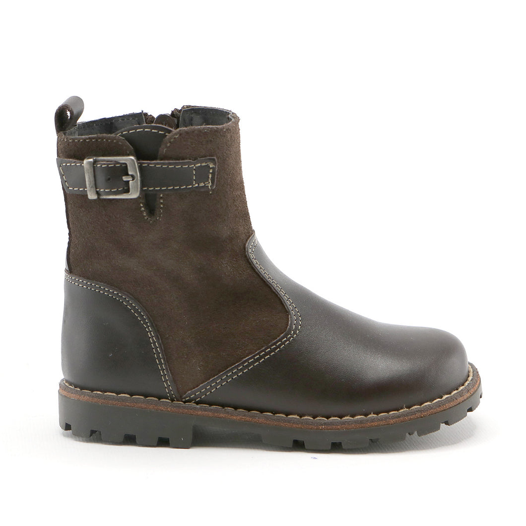 Dark brown leather and suede combo girls casual  ankle boot (SS-7055)