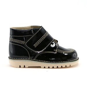 Black pat leather with velcrow classic ankle boot (SS-7056)