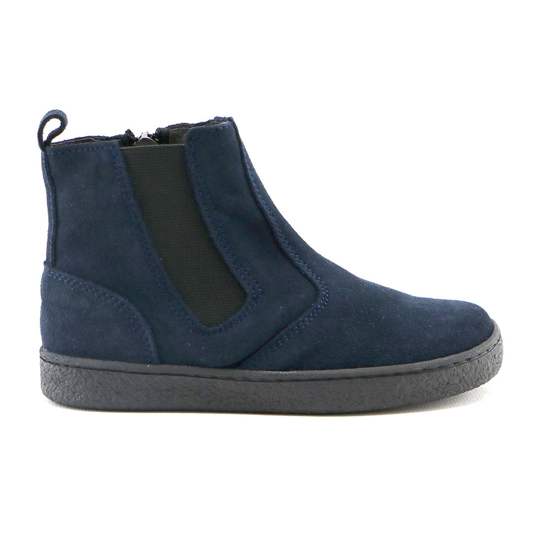 Navy suede with elastic Chelsea Girls ankle Boots (SS-7057)