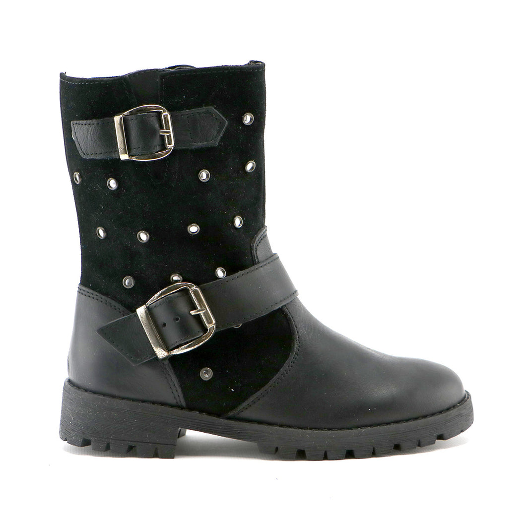 Black leather and suede combo girls fashion long boot (SS-7058)