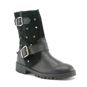 Black leather and suede combo girls fashion long boot (SS-7058) - SIMPLY SHOES HONG KONG