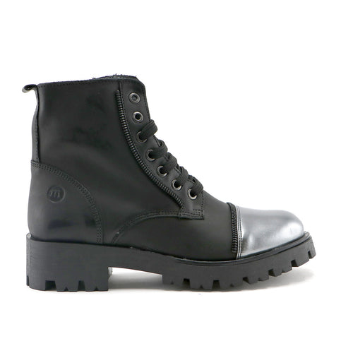 Black leather and metallic leather combo girls mid-high boot (SS-7061)