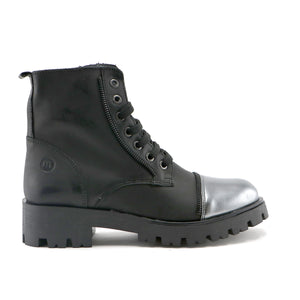 Black leather and metallic leather combo girls mid-high boot (SS-7061) - SIMPLY SHOES HONG KONG