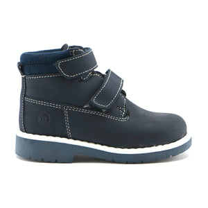 Navy leather classic Ankle Boots (SS-8025)