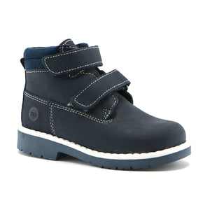 Navy leather classic Ankle Boots (SS-8025) - SIMPLY SHOES HONG KONG