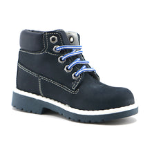 Navy leather classic lace-up Ankle Boots (SS-8026)
