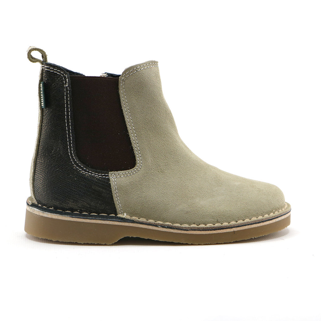 Brown and Beige combo Leather Girls Desert Ankle Boots (SS-8027)