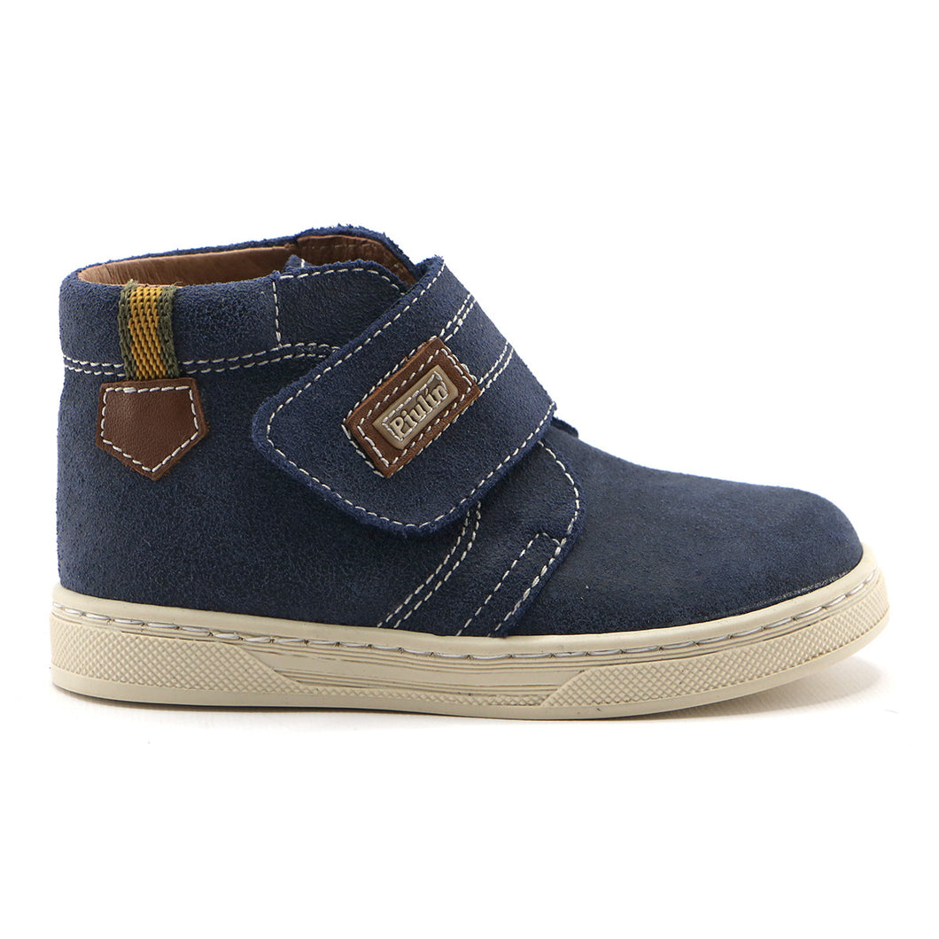 Denim Blue leather Boys velcro Ankle Boots (SS-8028) - SIMPLY SHOES HONG KONG