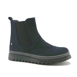 Navy suede with elastic girls fashionble Chelsea boot (SS-7062) - SIMPLY SHOES HONG KONG