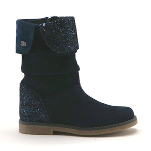 Navy suede and gilter leather  girls 20.5cm  fashion mid-high boot (SS-7063) - SIMPLY SHOES HONG KONG