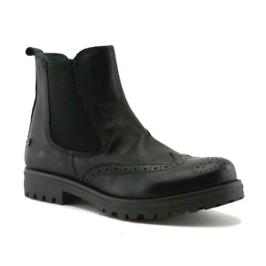 Black classic leather girls Chelsea ankle boot (SS-7065)