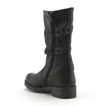 Black leather girls classic long boot (SS-7066)