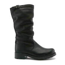 Black nappa leather girls classic long boot (SS-7068)