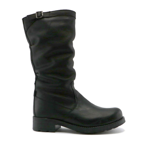 Black Napa leather girls classic long boot (SS-7068) - SIMPLY SHOES HONG KONG