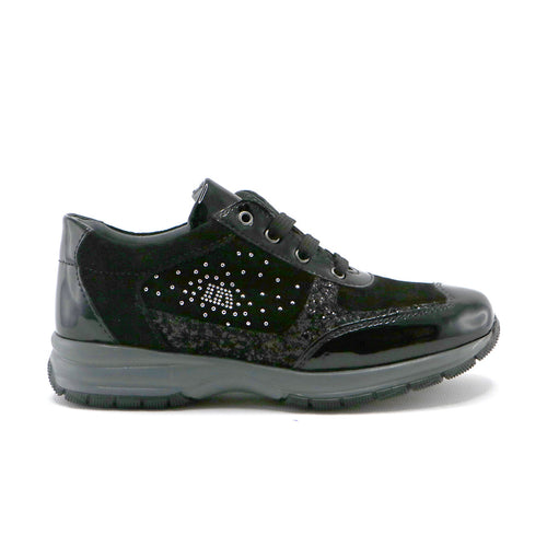 Black patent leather girls sylish sneaker (SS-7069)