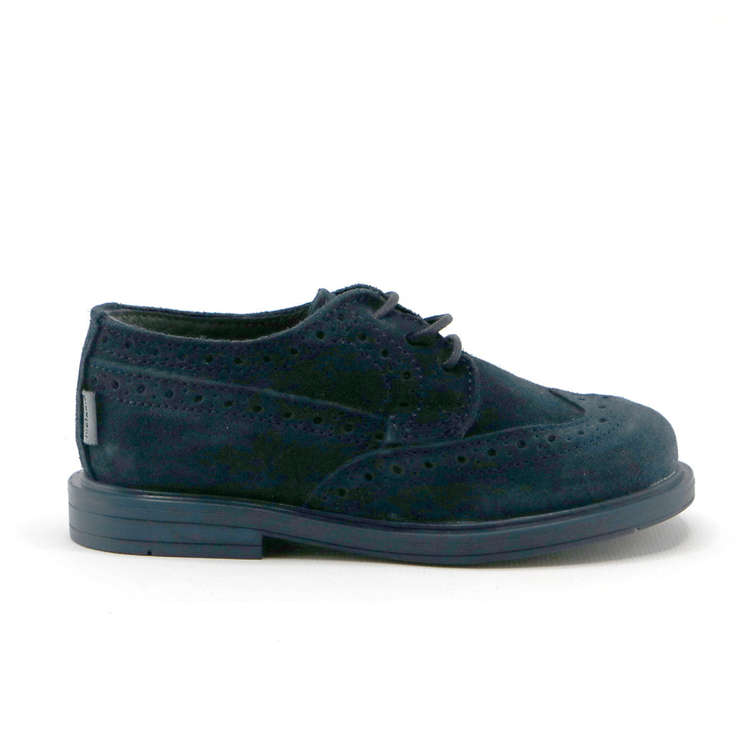 Navy suede boys lace-up classic shoe (SS-8030)