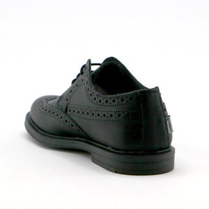Black leather boys lace-up classic School Shoe (SS-8031) - SIMPLY SHOES HONG KONG