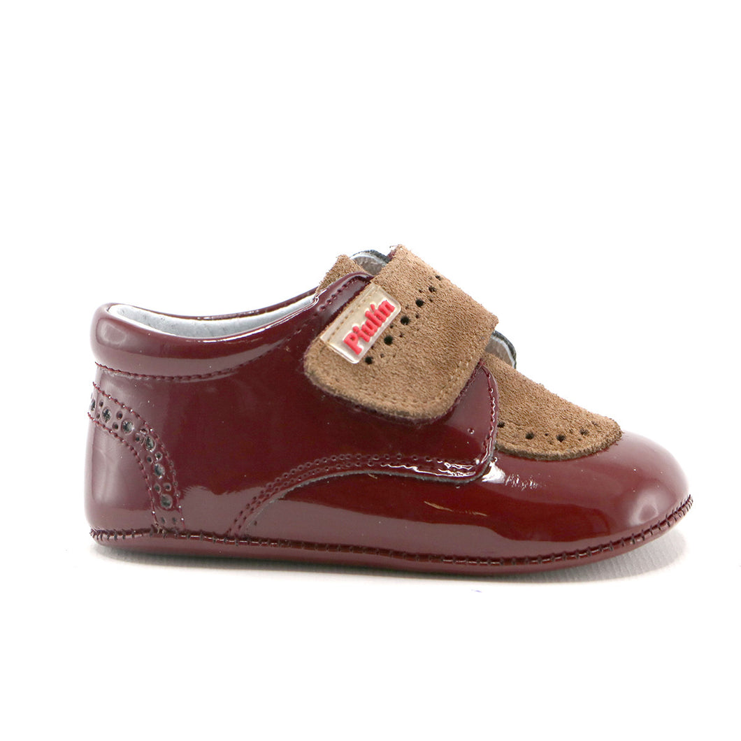 Brown Combo leather infant shoes (SS-7071)