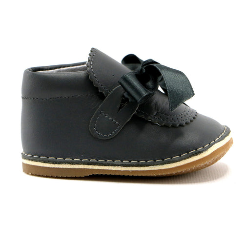 Grey leather infant girl shoes (SS-7073)