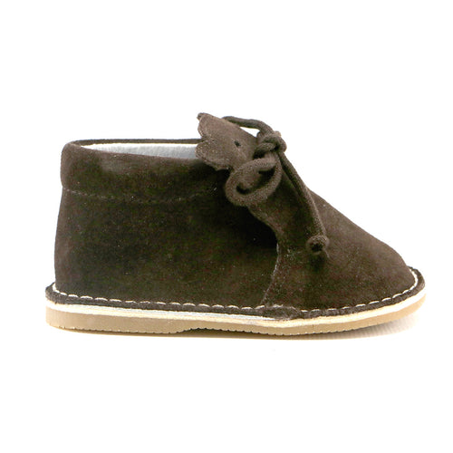 Chocolate soft suede with lace infant and girls bootie (SS-7077) - SIMPLY SHOES HONG KONG