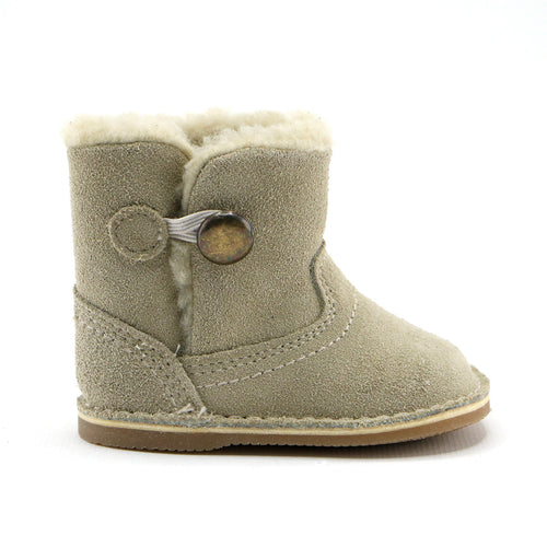 Beige leather snug booties (SS-7079)