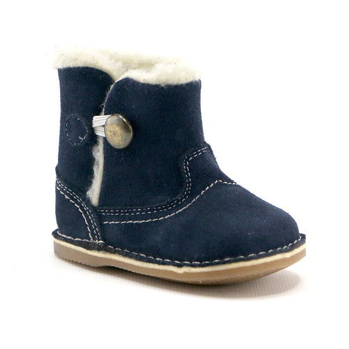 Navy leather snug booties boot (SS-7081) - SIMPLY SHOES HONG KONG