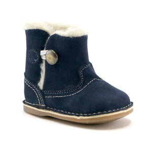 Navy leather snug booties boot (SS-7081)
