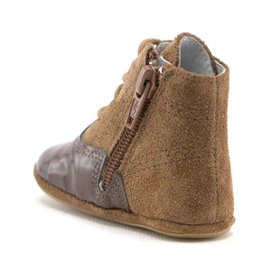 Brown combo leather infant  ankle boot (SS-7084)