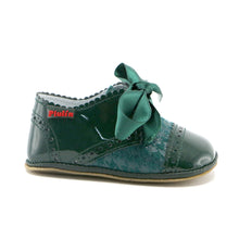Green combo leather infant shoe (SS-7086) - SIMPLY SHOES HONG KONG