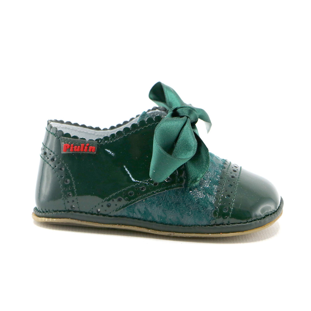 Green combo leather infant shoe (SS-7086)