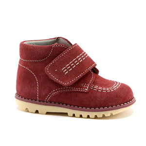Red soft suede girls ankle boot (SS-7093)