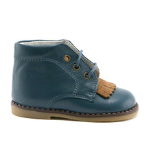 Ocean Combo premium Leather Ankle Boot (SS-8033) - SIMPLY SHOES HONG KONG
