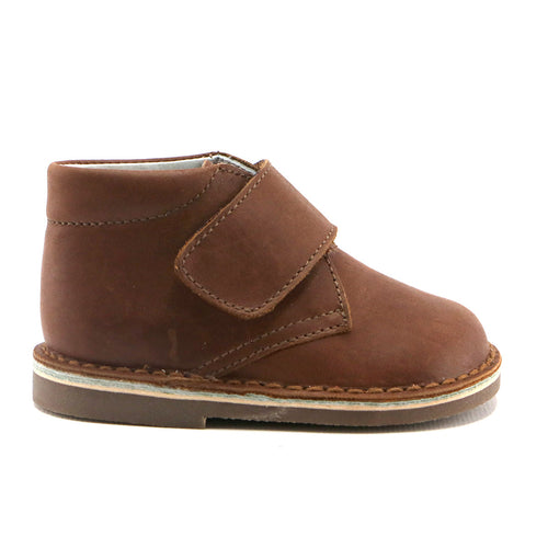 Coffee leather with classic velcro Boots (SS-8038) - SIMPLY SHOES HONG KONG