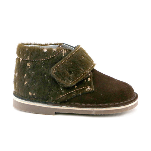 Brown soft suede combo velcro Boys Ankle Boots  (SS-8039) - SIMPLY SHOES HONG KONG