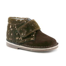 Brown soft suede combo velcro Boys Ankle Boots  (SS-8039)